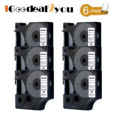 6 PK 45013 Label Tape compatible DYMO D1 maker label manager 12mm Black on White