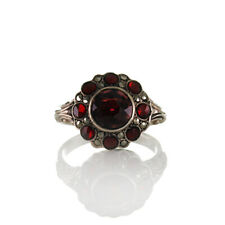 Antiker Jugendstil Ring mit Ornamenten Silber 835, Granat & Markasiten