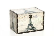 "Hosley's Large PARIS Wooden Keepsake Decorative Storage Box, 11.8"" Long"