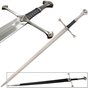 Anduril Sword Full Tang Lord of the Rings Strider Ranger w Scabbard Narsil LOTR