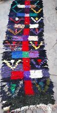 Vintage  Moroccan boucherouite rag rug runner    242 x 70cm