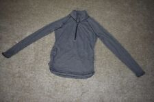 Lucy Activewear Runched Gray Heathered Stripe 1/2 Zip Long Sleeve Running Medium