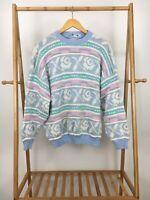 VTG 80s Rose Fairy Kei Kawai Pastel Knitted Bold Sweater Size L USA