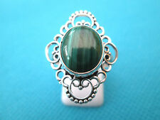 925 Sterling Silver Ring With Natural Dainty Malachite Size R, US 8.50 (rg1987)