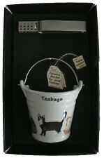 Cats & kittens bucket shaped Teabag tidy & tongs in gift tray shrink wrapped