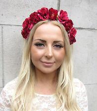 Red Rose Flower Garland Headband Hair Crown Band Boho Bridesmaid Festival 2168