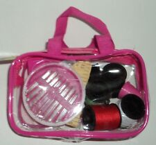 Crafter's Square Notions Travel Sewing Kit Pink and Clear IN Zipper Case NWT