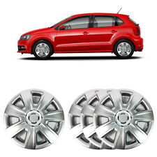 """4 X 14"""" SOLID SILVER WHEEL TRIM COVER FITS VOLKSWAGEN VW POLO 2012 ONWARD"""