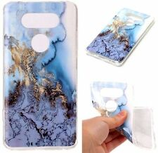 For LG V20 - TPU RUBBER GUMMY PHONE CASE COVER WATER BLUE GOLD MARBLE PATTERNS