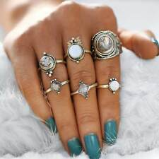 Vintage Opal Rings Big Stone Antique Gold Color Midi Knuckle Jewelry 6 Pcs/set