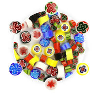 Rainbow Mix Handmade Millefiori 90 COE Fusible Glass Beads Mosaic Decor DIY 28g