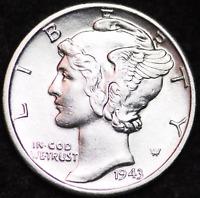 1943-D AU MERCURY DIME / DENVER MINT ALMOST UNCIRCULATED 90% SILVER COIN