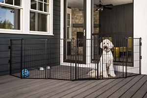 Carlson Outdoor Extra Tall Super Wide Pet Gate 36 H x 144 W w/ Small Dog Door