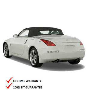 Fits: Nissan 350Z Convertible Soft Top & Heated Glass Window Black Cloth 2003-09