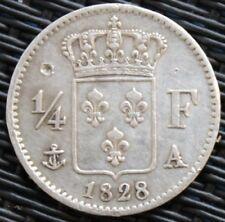 FRANCE 1/4  FRANC CHARLES X 1828 A