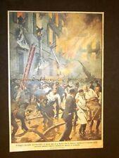Retrocopertina 1922 Domenica del Corriere Roma Incendio Ospedale Santo Spirito