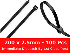 100 x Cable Ties Tidies Zip Ties 200mm x 2.5mm Black Nylon Exceptional Quality