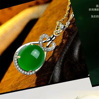 Natural Emerald & Diamond Wedding Party Silver Pendant Green Gemstone Retro