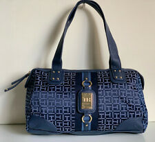 NEW! TOMMY HILFIGER BLUE BOWLER SATCHEL TOTE PURSE HANDBAG BAG $85 SALE
