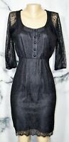 MAEVE Black Lace Dress 2 Sheer 3/4 Sleeves Silk Lining Buttons to Waist in Front