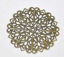 30 Bronze Tone Filigree Flower Wraps Connector Embellishments Findings 52mm