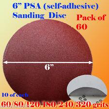 "60x 6"" PSA Self Adhesive Mixed Grit Sanding Disc Stick On Sandpaper Peel 60-320"