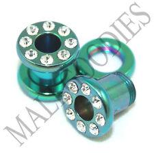 0957 Green Steel Screw-on/fit CZ Flesh Tunnels 2 Gauge 2G Ear Plugs 6mm