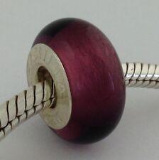 Authentic Chamilia Murano Purple With Silver Bead Charm O-71 New