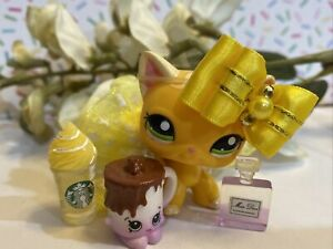 Authentic Littlest Pet Shop #2194 Shorthair Cat Yellow Curly Green Eyes Lps