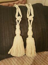Pair of Large Natural Colour - Cotton Curtain Tiebacks