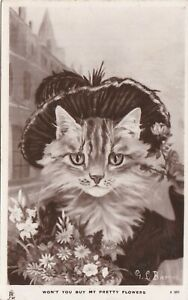 ANPC136) PC RP, Won't you buy my Pretty Flowers, cat with a hat on and a bouquet