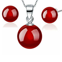 8MM Red Agate 925 Sterling Silver Necklace Earrings Set Women Fashion Jewelry