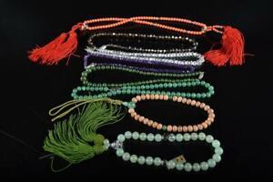 L5782: Japanese Stone jade/jewels BUDDHISM ROSARY Accessories Bundle sale Woman