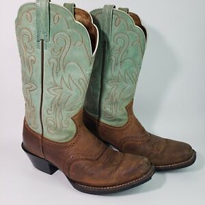 Ariat 15840 Women's 6 B Green & Tan Leather Square Toe Western Cowgirl Boots