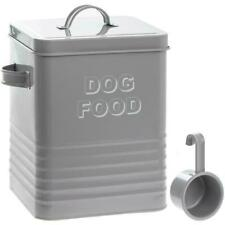 """Gris """"Nourriture pour chien"""" Tin avec Scoop & couvercle cuisine Conteneur Chiot Animal traiter Bin"""