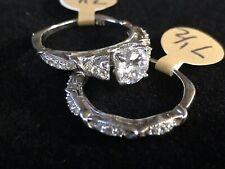 925 Sterling Silver CZ Wedding Ring Set Size 7.5