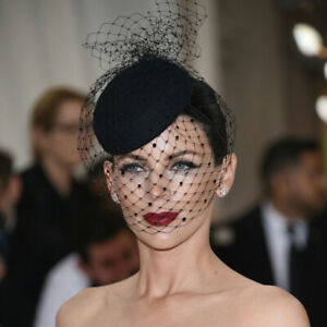 Vintage Black Tulle Women' Wedding Party Veil Hat Prom Evening Church Formal Cap