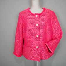 Talbots Bright neon Pink Tweed metallic Peplum Plus Size Blazer Jacket 16