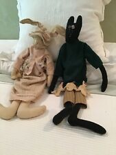 Set Of 2 primitive Style Stuffed Dolls Animals Rabbit And Black Cat Dressed