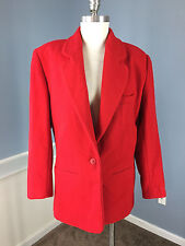 Bill Blass Sport Red Cashmere Wool Blnd Women 12 Blazer Jacket Excellent Vintage