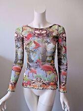 Jean Paul Gaultier Soleil Fuzzi Italy Flamingo Printed Stretch Mesh Top XS/S
