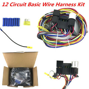 12-Way Circuit Basic Wire Harness Fuse Box Complete Wiring Kit for Car Truck 12V