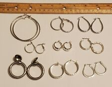 Silver Tone Hoop Earrings Lot Of 9 Pairs Small To Large