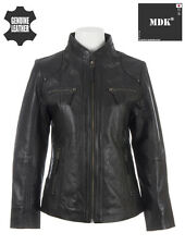 Womens SUPER SOFT Ladies 100% REAL Leather Band Collar BIKER Jacket Black by MDK
