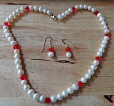 "17"" White 7-8mm FW Pearls & 6mm Red Crystals Sterling Silver Necklace & Earring"