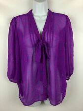 Urban Outfitters Patrons of Peace Purple Boho Pussy Bow Top Sheer Blouse Shirt L