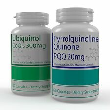2 Bottles PQQ and CoQ10 (Ubuiquinol) For Healthy Hearts and Energy 120 Capsules