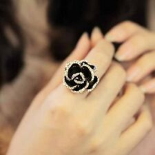 New Jewelry Size 8 Rings Gold Crystal Big Rose Flower Ring Women High Quality