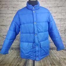 vintage WOOLRICH M/L Blue nylon down jacket / parka thick Puffer Jacket zip snap