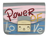 "FURLA Metropolis Message Mini Tasche Crossbody ""Power of Love"" 977984 grau blau"